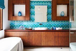 Цвет счастья: 33 бирюзовые ванные комнаты