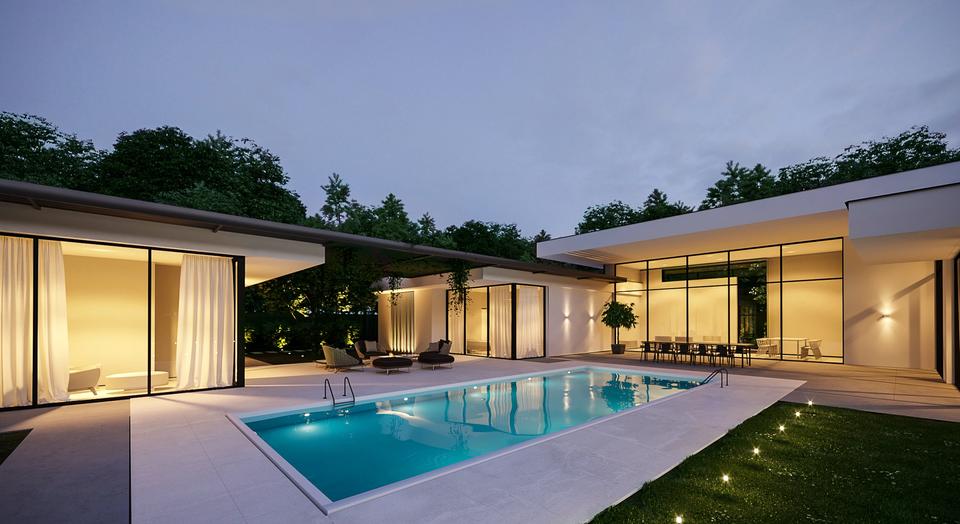проект современного особняка с бассейном